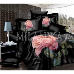 Постельное белье черное из сатина с нежно-розовой розой 3D - Ленора