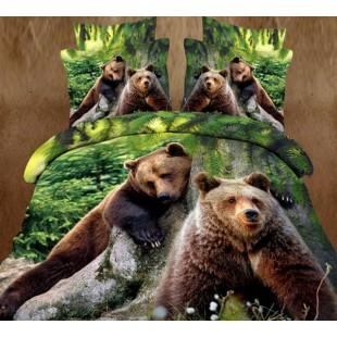 """Постельное белье с бурыми медведями из сатина 3D """"Заповедник"""""""