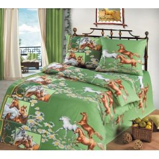 Постельное белье зеленого цвета с изящными лошадками - Грация