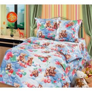 Постельное белье с медвежатами в голубой гамме - Непоседы