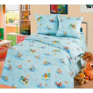 Детское постельное белье нежно-голубое с пальмами - Робинзоны