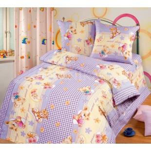 Постельное белье для детей в сиренево-желтой гамме с мишкой - Сладкий Сон