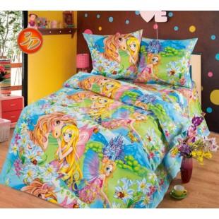 Детское постельное белье радужное с феями Страна чудес из бязи