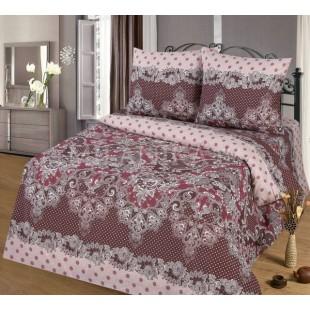 Постельное белье лилового цвета в горох Ажур из бязи