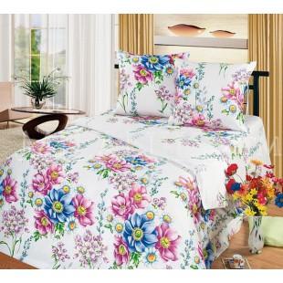Постельное белье белое из бязи с лиловыми и синими цветами Акварель