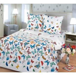 Комплект постельного белья с разноцветными бабочками на белом фоне из коллекции бязи Баттерфляй