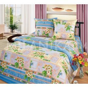 Постельное белье бежево-голубое из бязи с цветами и геометрией - Комплимент