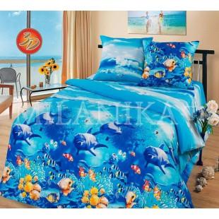 3D постельное синее белье из бязи с дельфинами Лагуна