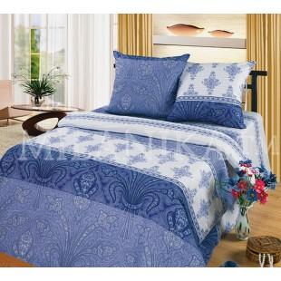 Постельное белье из бязи в сине-голубых тонах с абстрактным рисунком Лувр