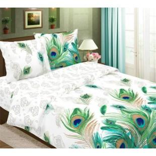Постельное белье с перьями павлина бирюзовая гамма - Малахит