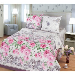 Комплект постельного белья светло-серой гаммы с розовыми пионами Маркиза - бязь