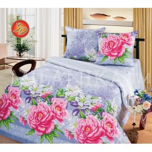 Постельное белье с розовыми розами из бязи светло-фиолетового цвета Нежность