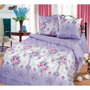 Постельное белье фиолетовой гаммы с узором и цветами - Ришелье бязь