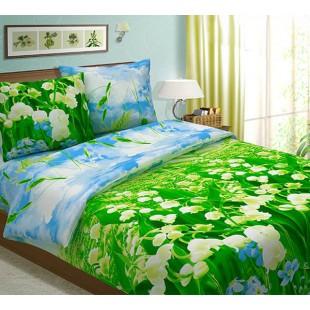 Постельное белье Ландыши из бязи в зеленой гамме