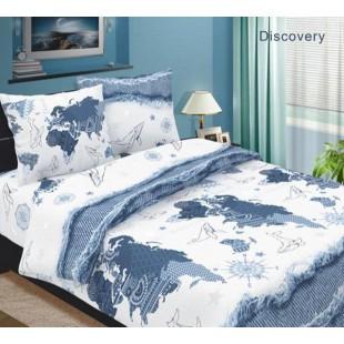 Постельное белье с китом, картой и компасом белое с синим - Дискавери