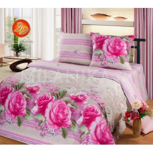 Постельное белье серое с фиолетовыми полосами и крупными розовыми цветами из бязи - Верона
