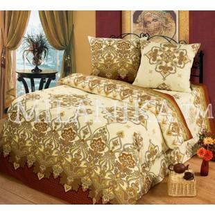 Купить бежево-шоколадное постельное белье с узорами - Восток