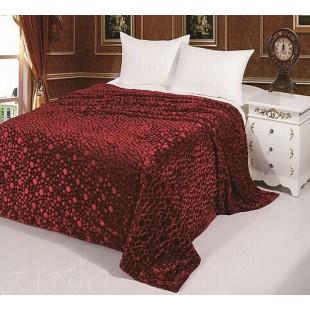 """Покрывало меховое для кровати """"Бордо пузырики"""""""