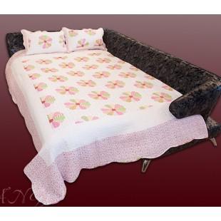 """Нежно-розовое покрывало из хлопка в стиле пэчворк """"Нежность"""" с наволочками"""