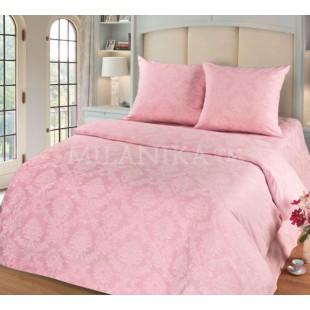 Однотонное розовое постельное белье из поплина-жаккарда - Агат