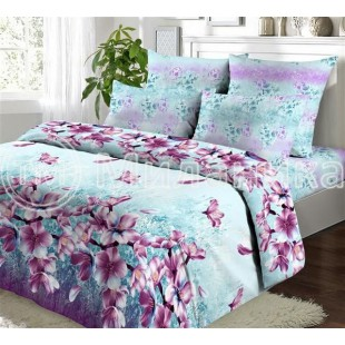 Нежно-бирюзовое постельное белье с фиолетовыми цветами - Аквамарин