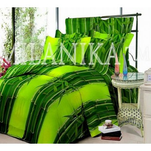 Сочно-зеленое постельное белье из поплина с расцветкой Бамбук