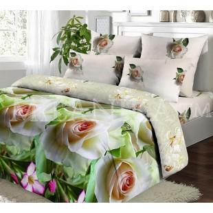 Постельное белье из поплина с белыми розами - Блонди
