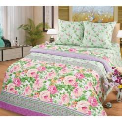 Нежно-зеленый комплект из поплина с цветочным принтом -Этюд