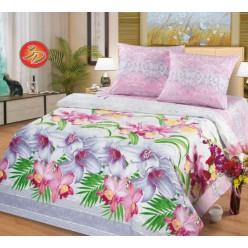 Комплект постельного белья серо-розовой гаммы с цветами - Ева 3D поплин