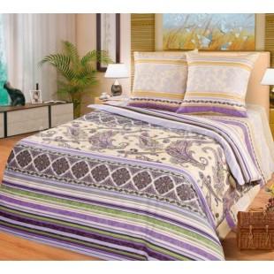 Постельное белье бежево-фиолетовая Индия из поплина