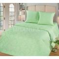 Нежно-зеленое постельное белье однотонное с вензелями - Изумруд
