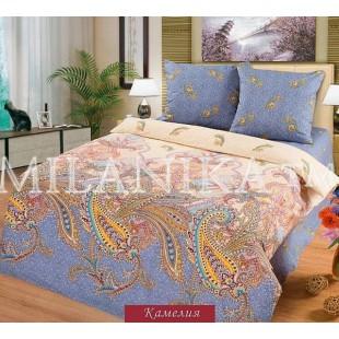 Комплект постельного белья молочно-синего цвета из поплина «Камелия»