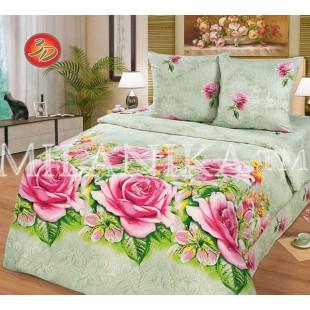 Светло-зеленое постельное белье с розовыми розами - Кружева