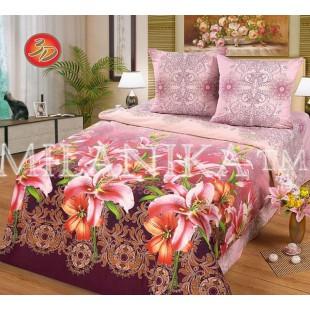 Постельное белье с лилиями в розово-бордовой гамме из поплина