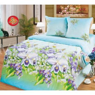 Нежно-голубое постельное белье с сиреневыми ирисами - Пелагея