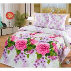 Белоснежный поплиновый комплект белья с розовыми цветами - Шанталь
