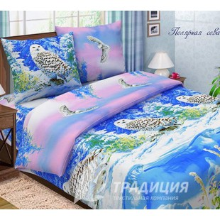 Постельное белье с полярной совой из поплина синее