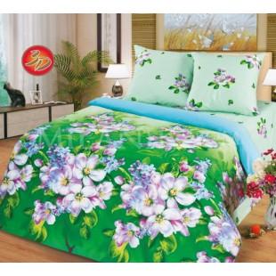 Постельное белье зеленое с сиреневыми цветами - Весна из поплина