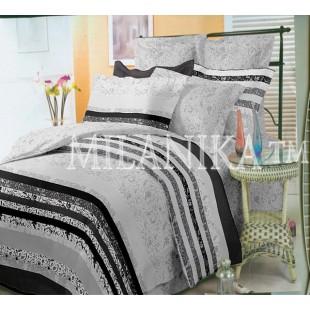 Серое постельное белье с полосами и узорами - Виконт