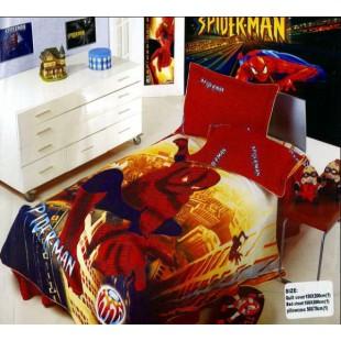 Постельное белье Человек паук из сатина красное