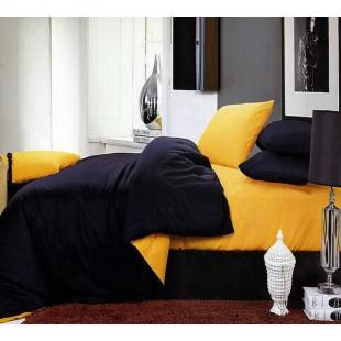 Постельное белье из сатина черного и оранжевого цвета