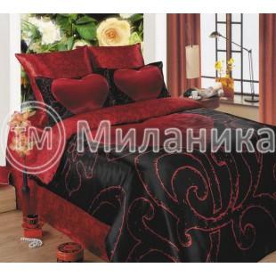 Красно-черное постельное белье с большим сердцем - Клеопатра