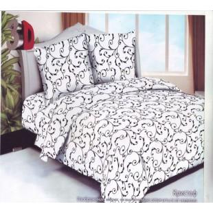 Белое постельное белье с черными узорами из сатина - Кристоф