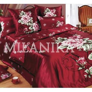Бордовое постельное белье из сатина Верона