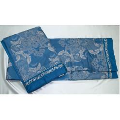 Жаккардовый комплект в синем цвете с бежевым рисунком