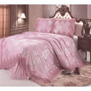 Постельное белье - жаккард Блюмарина розового цвета с кружевом