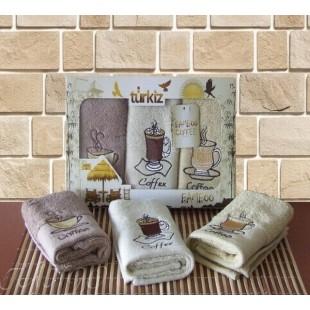 Подарочный набор кухонных полотенец из бамбука - Кофе