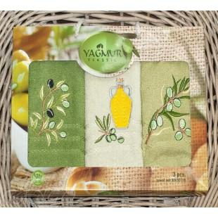 Комплект полотенец для кухни в оливковой гамме с вышивкой из хлопка
