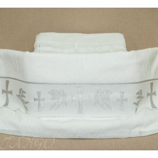 Крестильное полотенце с серебряной вышивкой из хлопка