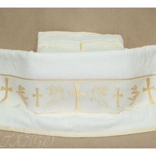 Полотенце для крещения с золотой вышивкой из хлопка